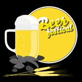 Beer festival background with glass of beer Stock Photography