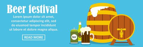 Beer festival banner horizontal concept. Flat illustration of beer festival banner horizontal vector concept for web Royalty Free Stock Photos