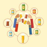 Beer festival colorful poster. Composition with human hands toasting beer in centre and bottles cans bottles mugs glasses in circle. Flat style design vector stock illustration