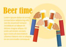 Beer festival colorful poster. Composition with human hands toasting beer in centre and bottles cans bottles mugs glasses in circle. Flat style design vector vector illustration