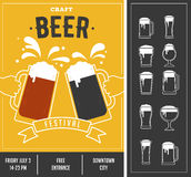 Beer festival, event poster and icon set Royalty Free Stock Photo