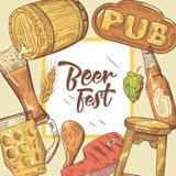Beer Festival Hand Drawn Advertising, Poster, Banner. Beer Sketch Style Doodle Royalty Free Stock Image