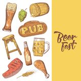 Beer Festival Hand Drawn Advertising, Poster, Banner. Beer Sketch Style Doodle Stock Images