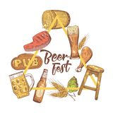 Beer Festival Hand Drawn Design for Poster, Banner. Beer Sketch Style Doodle Royalty Free Stock Images