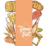 Beer Festival Hand Drawn Menu, Poster, Banner. Beer Sketch Style Doodle Royalty Free Stock Image