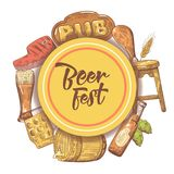 Beer Festival Hand Drawn Poster, Banner. Beer Sketch Style Doodle Stock Images