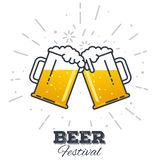 Beer festival icon. Two gig glasses with fresh yellow live beer and white foam, and bubbles. Line style flat vector illustration. Beer festival concept. Lager Stock Photography