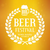 Beer festival logo with text, laurel wreath and glass. Oktoberfest vector background. vector illustration