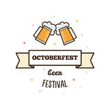 Beer festival. Octoberfest. Vector illustration. Beer festival. Octoberfest. Two glasses of beer. Vector illustration Royalty Free Stock Photography