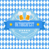 Beer festival Oktoberfest badge on blue rhombus background Stock Images