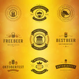 Beer festival Oktoberfest labels, badges and logos Royalty Free Stock Images