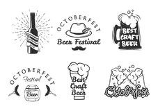 Beer festival Oktoberfest set. Beer festival Oktoberfest celebrations. Set of retro vintage beer badges, labels, logos for bar, pub, beer party. Vector design Stock Images
