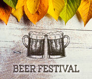 Beer festival sign with beer mugs and colorful leaves. Beer festival sign with two hand drawn beer mugs and colorful autumn leaves. Studio shot on white wooden Royalty Free Stock Images