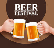 Beer Festival Toast of Two Man Holding Mug for Celebration Stock Photo