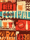 Beer Festival vintage style grunge poster. Retro vector illustration. Stock Photos