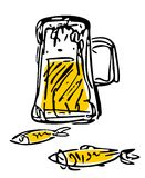 Beer and fish. Stylized a mug of beer and two fishes on a white background Stock Photos