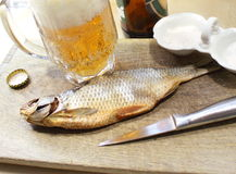 Beer with fish Stock Image