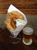 Beer with Fish and Chips Stock Images