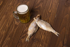 The beer with fish Stock Images