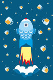 Beer. Fish rocket flies in space kosmos.V stars - it with beer glasses Royalty Free Stock Photo