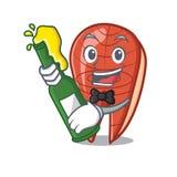With beer fish slice mascot cartoon. Vector illustration Stock Photos
