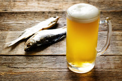 Beer and fish vobla Stock Photos