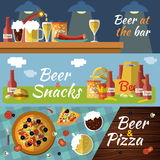 Beer Flat Banner Set. Three horizontal beer flat banner set with titles beer at the bar beer snacks beer and pizza vector illustration Stock Photography