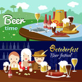Beer Flat Banner Set. Two horizontal beer flat banner set with titles of beer time and Oktoberfest beer festival vector illustration Stock Photo