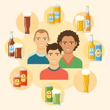 Beer flat colorful poster. Circle composition with different kinds of beer in bottles cans mugs glasses and people in centre vector illustration. Concept frame royalty free illustration