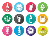 Beer flat design round icons set - bottle, glass, pint Royalty Free Stock Photo
