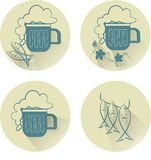Beer flat icons. Mug of beer with foam, hops, fish. Blue contours outline on beige circles, shadow, vector Stock Photos