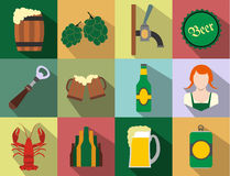 Beer flat icons set Stock Image