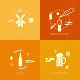 Beer flat set of icons design background Stock Photos