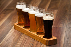 Beer Flight. Different kinds of beer Stock Photos