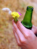 Beer and flowers Stock Photo