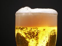 Beer foam. Beer within mug with foam over black background royalty free stock images