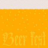 Beer with foam and bubbles sign Beer fest. Background pattern with stylized image of beer with foam and sign Beer fest made of bubbles. Vector illustration Stock Image