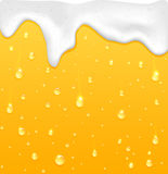 Beer with foam. Drops with foam on glass, yellow drink background, illustration stock illustration