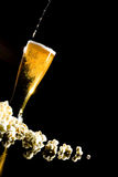 Beer with foam and popcorn Royalty Free Stock Photography