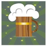 Beer with foam in a wooden circle on a green. Background,for design pub royalty free illustration