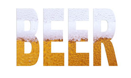 Beer font. Beer arial font made out of a beer macro picture royalty free stock photo