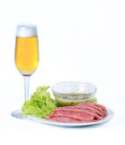 Beer and food. stock photo