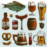 Beer food hand drawn sketch vector set mug bottle wheat hop elements and hand drawing graphic objects used for. Advertising festival beer beverage brewery bar Royalty Free Stock Photos