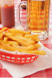 Beer and french fries Royalty Free Stock Images