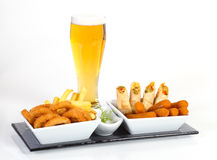 Beer and fried appetizer Royalty Free Stock Images