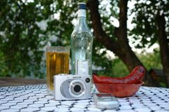 Beer and fried sausages Royalty Free Stock Photography
