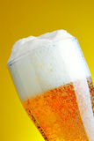 Beer with froth. Glass of beer with froth close-up royalty free stock photography