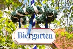 Beer garden. Sign for a beer garden in Bavaria. Outdoor shot stock images