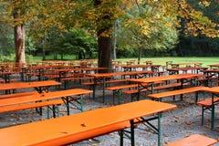 Beer garden. An empty beer garden in autumn stock image