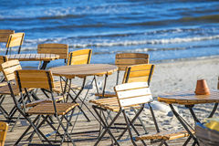 Beer garden at the Baltic Sea Royalty Free Stock Photography